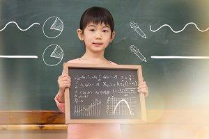 Little girl holding blackboard