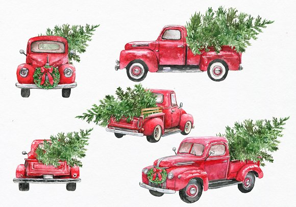 Red truck clipart. Watercolor | Creative Daddy (580 x 406 Pixel)