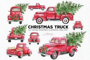 Red truck clipart. Watercolor
