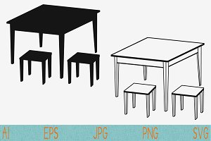 table, chairs set vector svg png