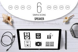 Speaker icon set, simple style