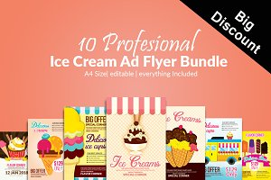 10 Ice Cream Flyers Template Bundle