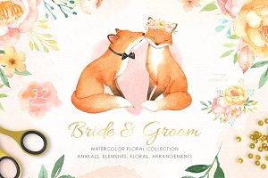 Bride & Groom Watercolor Clipart