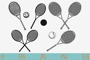 Tennis racket ball svg set vector