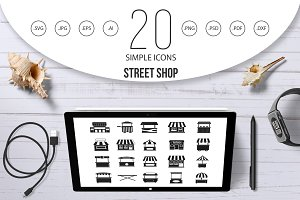 Street shop icon set, simple style