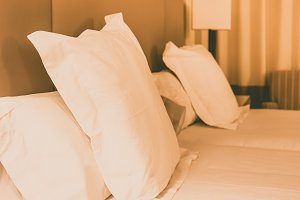 Prepared fresh bed, scene in hotel r