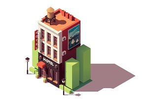 Vector isometric hotel building