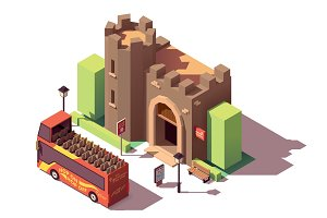 Vector isometric tourist attractions