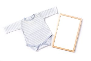 Baby romper and frame mockup