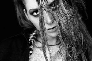 Sad lovely grunge girl