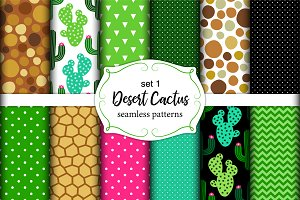 Cute desert cactus seamless patterns