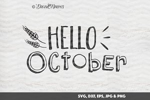 Hello October - Fall SVG Vector