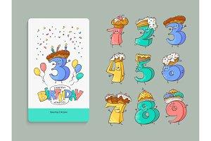 Birthday anniversary numbers cartoon