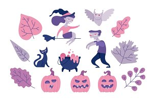 Halloween symbols set with various