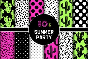 Set of summer party seamless pattern