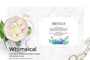 Editable Watercolor Leaf Blank Card