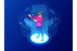Isometric Into virtual reality world
