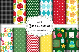 Back to School seamless patterns