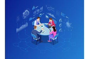 Isometric conference meeting room