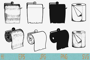 toilet paper set vector svg png eps