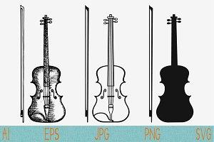 violin, bow set vector svg png eps