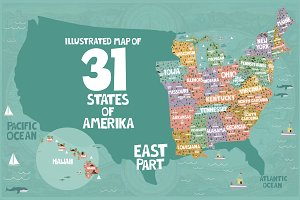 31 illustrated map of USA / part 2