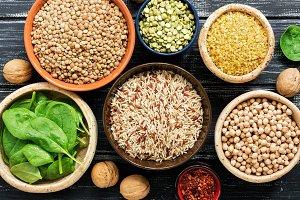 Chickpeas, lentils, peas, brown rice