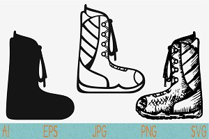 winter boots set vector svg png eps