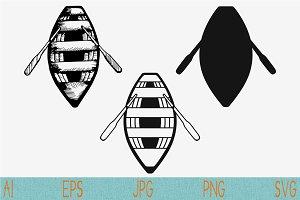 Wooden boat, paddles set vector svg