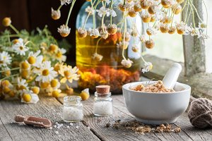 Healing herbs, homeopathic drugs.