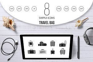 Travel bag icon set, simple style