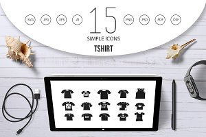 Tshirt icon set, simple style