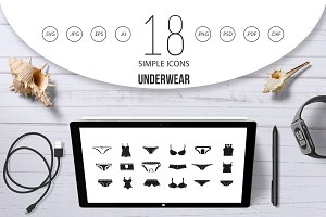 Underwear icon set, simple style