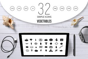 Vegetables icon set, simple style