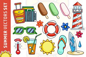 Summer Vector Illustrations Set