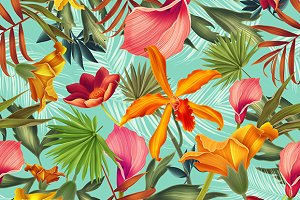 Tropical flowers and leaves pattern