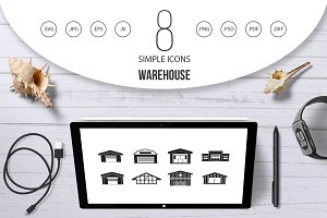 Warehouse icon set, simple style