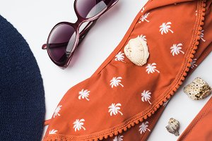 Beach female fashion accessories on