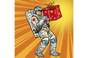 Astronaut birthday with a gift