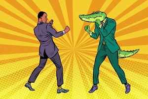 Businessman Boxing with a crocodile