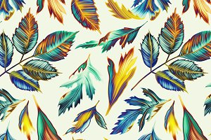 Tropical pattern. Jungle palm leaves
