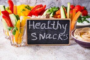 Snacks bar.  Vegetables sticks an