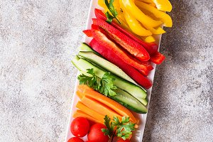 Fresh vegetables stick. Healthy