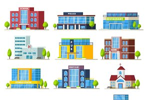 Colorful Municipal Buildings Set