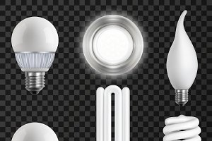 Realistic Light Bulbs Set