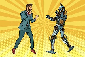 Businessman fighting with a robot
