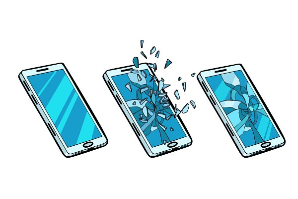 Smartphone whole, cracked glass and