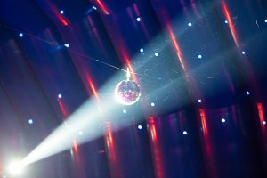 Disco ball and light ray
