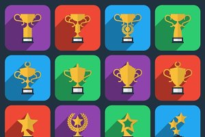 Winner trophy and award icons