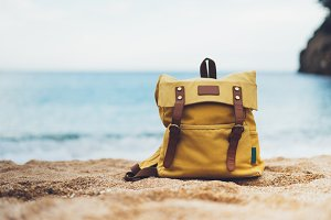 Backpack on the beach